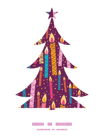 Vector colorful birthday candles Christmas tree silhouette pattern frame card template Vector