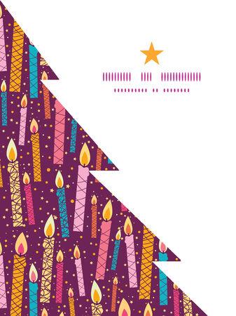 velas de navidad: Silueta del árbol plantilla de tarjeta del marco Vector patrón velas colorido cumpleaños de Navidad
