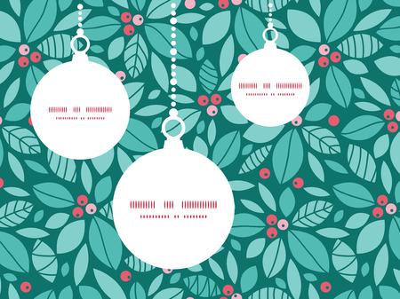 houx: Vector christmas baies de houx de No�l ornements mod�le silhouettes mod�le de carte de cadre