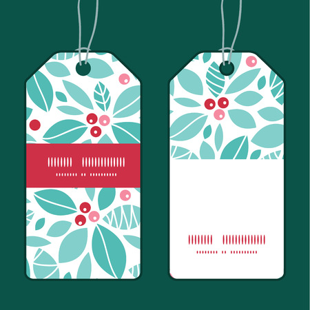 red christmas background: Vector christmas holly berries vertical stripe frame pattern tags set