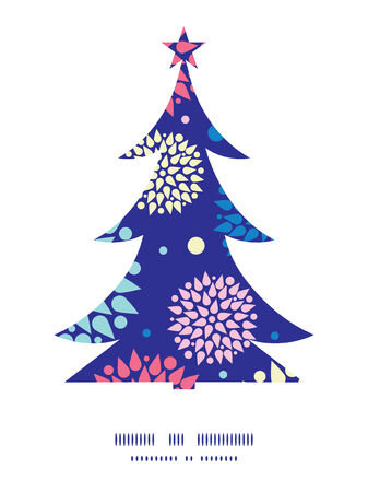 Vector colorful bursts Christmas tree silhouette pattern frame card template Vector