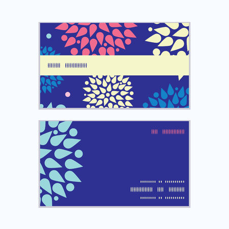 Vector colorful bursts horizontal stripe frame pattern business cards set Vector