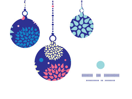 Vector colorful bursts Christmas ornaments silhouettes pattern frame card template Vector