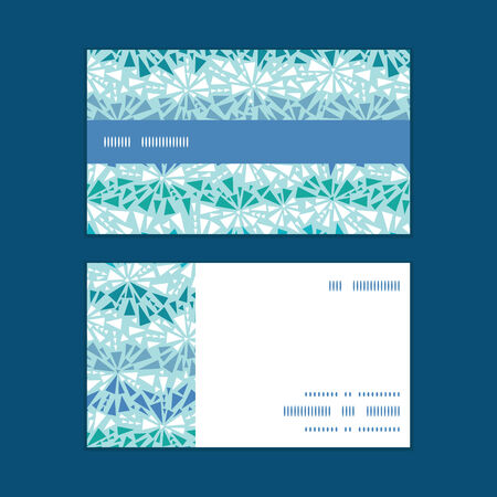 abstract ice crystals texture horizontal stripe frame pattern business cards set Иллюстрация