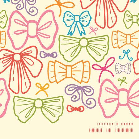 horizontal: colorful bows horizontal frame seamless pattern background