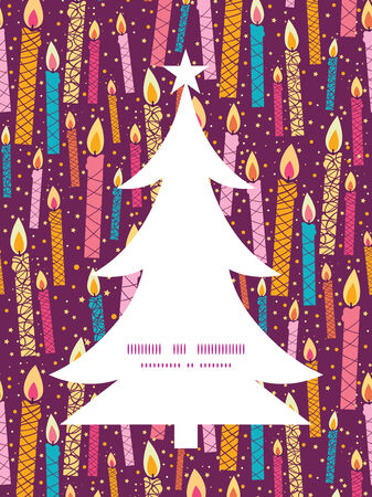 colorful birthday candles Christmas tree silhouette pattern frame card template Vector