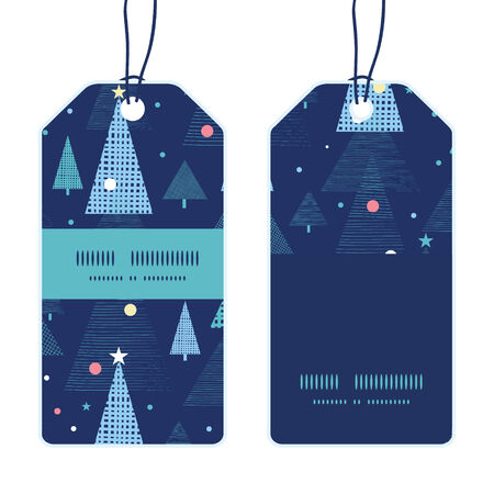 new year card: abstract holiday christmas trees vertical stripe frame pattern tags set Illustration