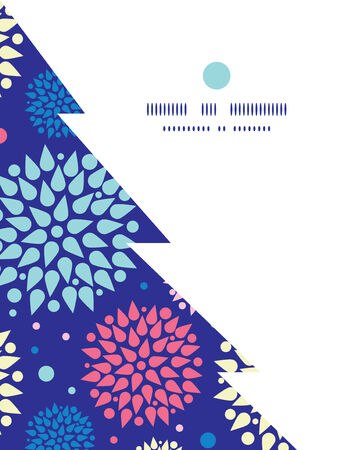 colorful bursts Christmas tree silhouette pattern frame card template Vector