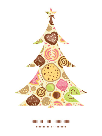christmas cookie: Vector colorful cookies Christmas tree silhouette pattern frame card template Illustration