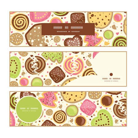 crumb: Vector colorful cookies horizontal banners set pattern background