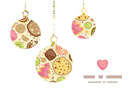 Vector colorful cookies Christmas ornaments silhouettes pattern frame card template Illustration