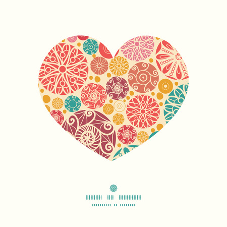 wheal: Vector abstract decorative circles heart silhouette pattern frame Illustration