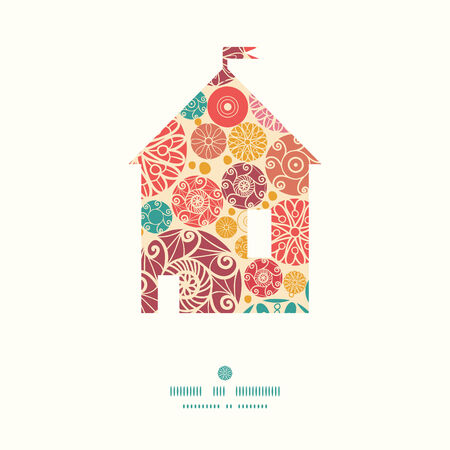 wheal: Vector abstract decorative circles house silhouette pattern frame Illustration