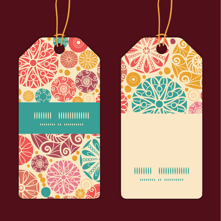 wheal: Vector abstract decorative circles vertical stripe frame pattern tags set Illustration