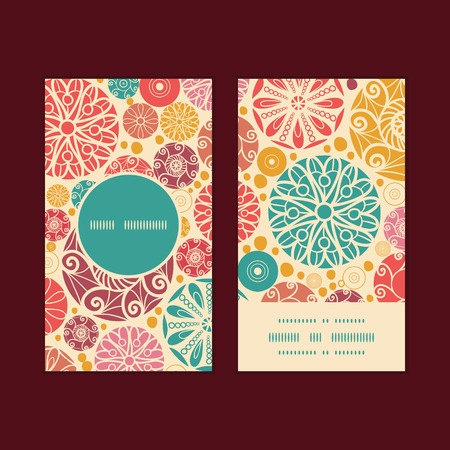 wheal: Vector abstract decorative circles vertical round frame pattern business cards set