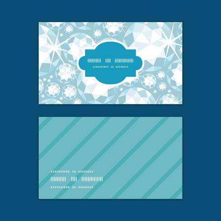Vector shiny diamonds horizontal frame pattern business cards set