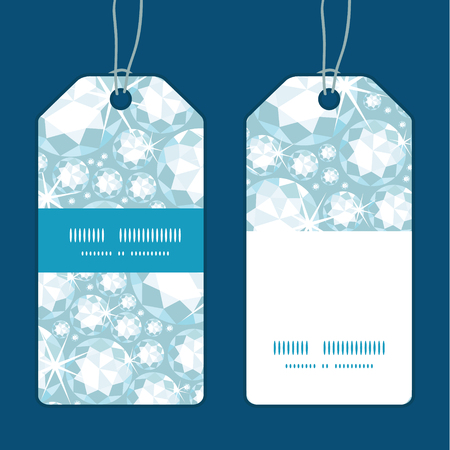adamant: Vector shiny diamonds vertical stripe frame pattern tags set Illustration