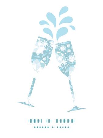 glass reflection: Vector shiny diamonds toasting wine glasses silhouettes pattern frame Illustration
