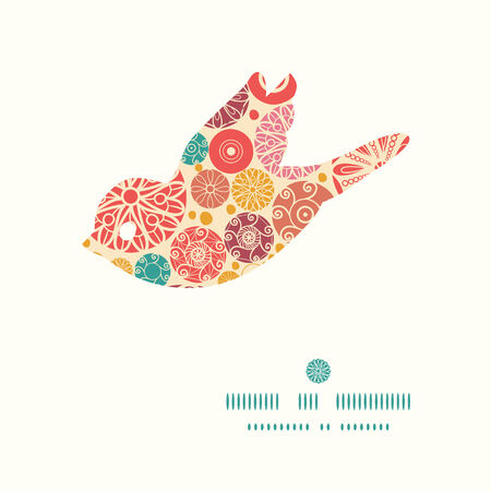 wheal: Vector abstract decorative circles bird silhouette pattern frame