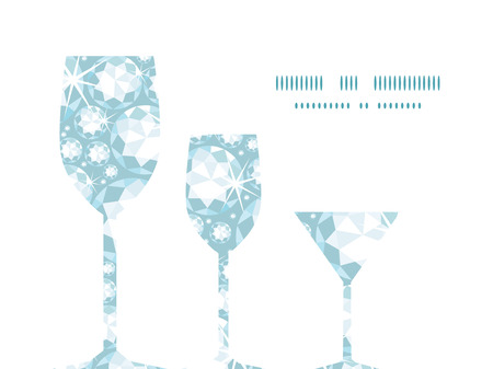 Vector shiny diamonds three wine glasses silhouettes pattern frame