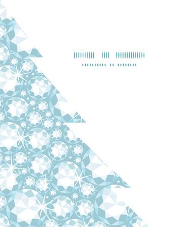 adamant: Vector shiny diamonds Christmas tree silhouette pattern frame card template