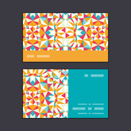 Vector colorful triangle texture horizontal stripe frame pattern business cards set