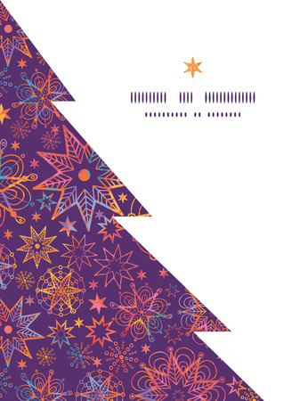 Vector textured christmas stars Christmas tree silhouette pattern frame card template