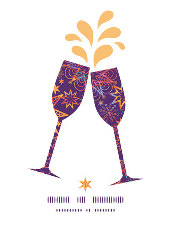 toasting wine: Vector textured christmas stars toasting wine glasses silhouettes pattern frame Illustration