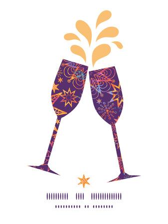 toasting wine: Vector textured christmas stars toasting wine glasses silhouettes pattern frame Illustration