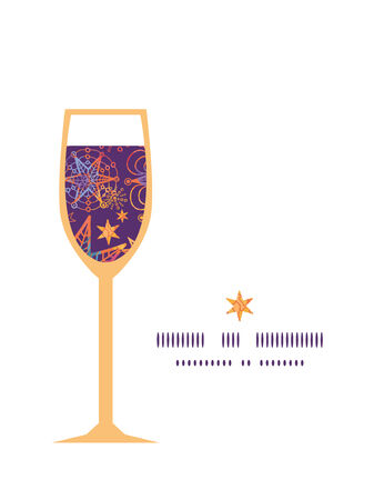 Vector textured christmas stars wine glass silhouette pattern frame