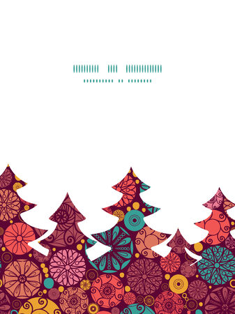 wheal: Vector abstract decorative circles Christmas tree silhouette pattern frame card template