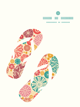 wheal: Vector abstract decorative circles flip flops silhouettes pattern frame Illustration