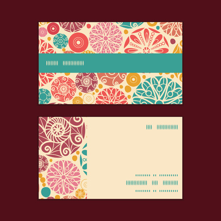 wheal: Vector abstract decorative circles horizontal stripe frame pattern business cards set