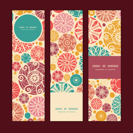 wheal: Vector abstract decorative circles vertical banners set pattern background