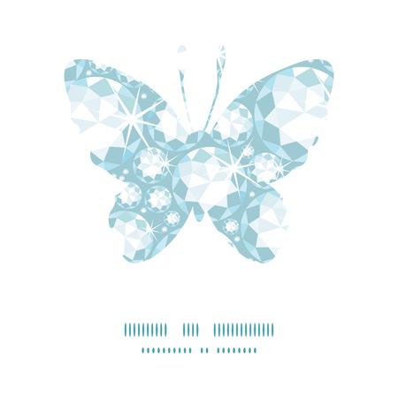 Vector shiny diamonds butterfly silhouette pattern frame