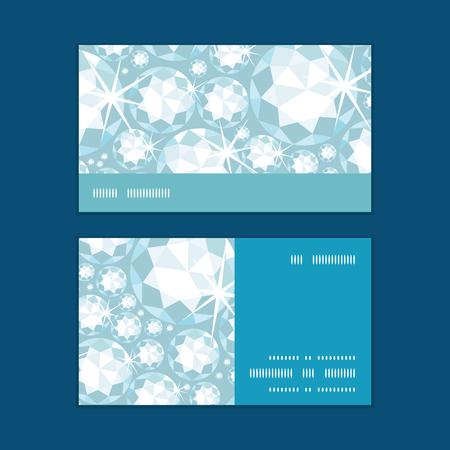 Vector shiny diamonds horizontal stripe frame pattern business cards set