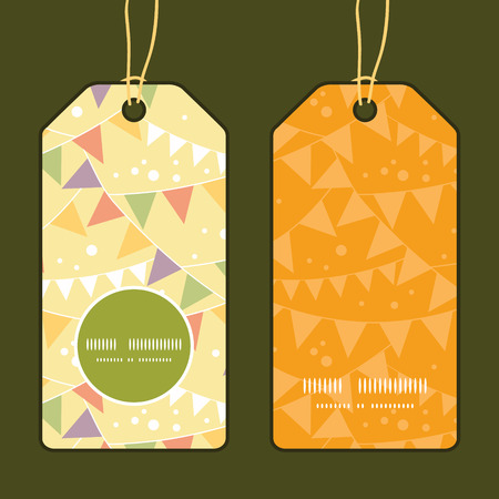 Vector party decorations bunting vertical round frame pattern tags set Vector