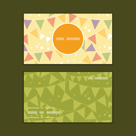 event party festive: Vector party decorations bunting vertical round frame pattern business cards set