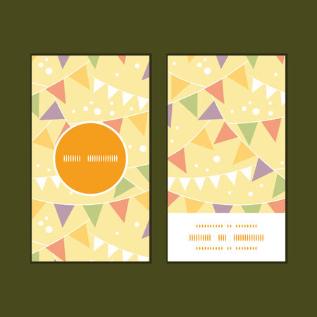 Vector party decorations bunting vertical round frame pattern business cards set Vector