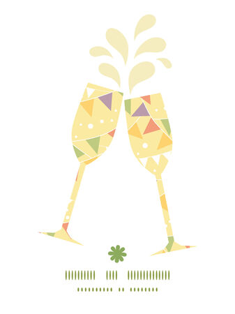 toasting wine: Vector party decorations bunting toasting wine glasses silhouettes pattern frame Illustration