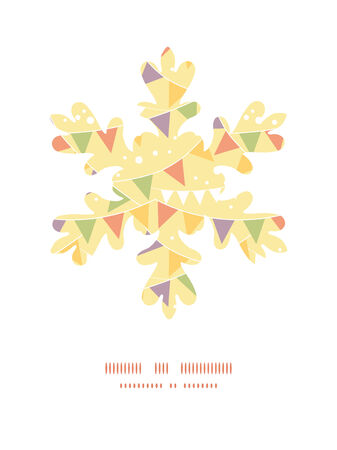 Vector party decorations bunting Christmas snowflake silhouette pattern frame card template Illustration
