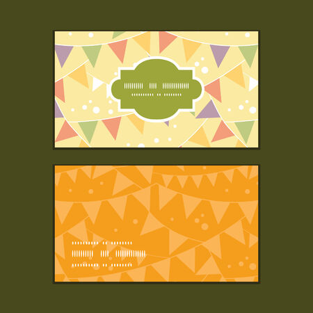 event party festive: Vector party decorations bunting horizontal frame pattern business cards set Illustration