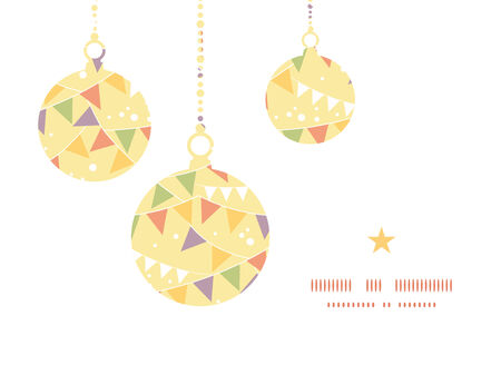 Vector party decorations bunting Christmas ornaments silhouettes pattern frame card template Vector