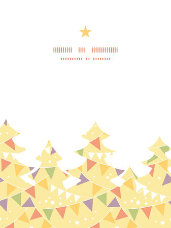 Vector party decorations bunting Christmas tree silhouette pattern frame card template Vector