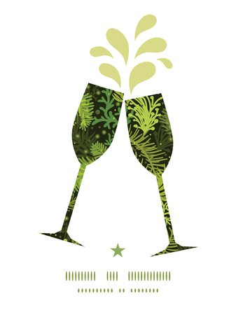 toasting wine: Vector evergreen christmas tree toasting wine glasses silhouettes pattern frame Illustration