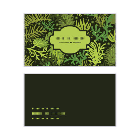 Vector evergreen christmas tree horizontal frame pattern business cards set