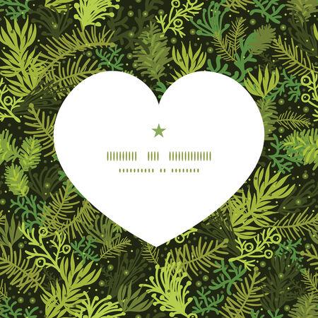 Vector evergreen christmas tree heart silhouette pattern frame Ilustrace