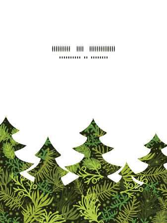 Vector evergreen christmas tree Christmas tree silhouette pattern frame card template Vector