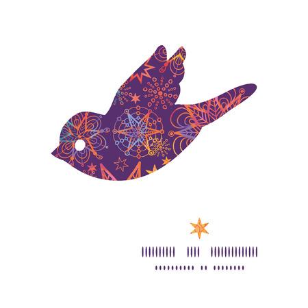 Vector textured christmas stars bird silhouette pattern frame