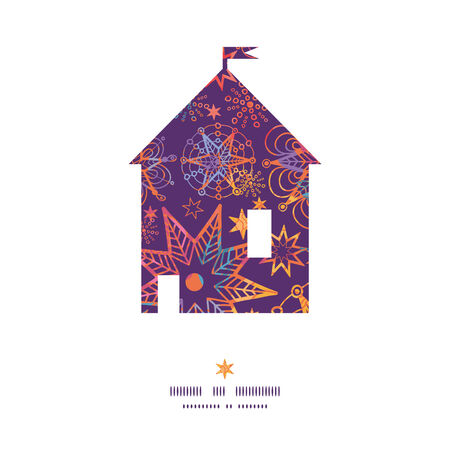 Vector textured christmas stars house silhouette pattern frame